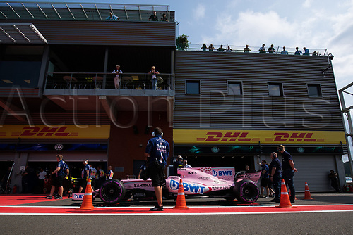 26th August 2017, Circuit de Spa-Francorchamps, Belgium; Belgium Grand Prix, Qualifying Session; Esteban OCON from France of Sahara Force India F1 Team, Force Ind. VJM10, Mercedes-Benz M08 Hybrid, EQ Power+ entering to the pit lane