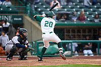 Fort Wayne TinCaps Agustin Ruiz (20) at bat during a Midwest League game against the Kane County Cougars at Parkview Field on May 1, 2019 in Fort Wayne, Indiana. Fort Wayne defeated Kane County 10-4. (Zachary Lucy/Four Seam Images)