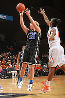 Duke guard Tricia Liston (32) shoots the ball during an NCAA college basketball game in Charlottesville, Va. Duke defeated Virginia 62-41...