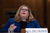 Administrator of the General Services Administration Emily Murphy testifies during a United States Senate hearing on the Challenges and Opportunities of the Proposed Government Reorganization on Capitol Hill in Washington, DC on July 26, 2018. Credit: Alex Edelman / CNP