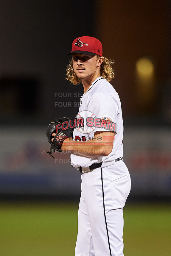 Scottsdale Scorpions relief pitcher Tyler Schimpf (31), of the San Francisco Giants organization, during an Arizona Fall League game against the Glendale Desert Dogs on September 20, 2019 at Salt River Fields at Talking Stick in Scottsdale, Arizona. Scottsdale defeated Glendale 3-2. (Zachary Lucy/Four Seam Images)