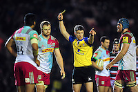 James Chisholm of Harlequins is shown a yellow card by referee Craig Maxwell-Keys. Aviva Premiership match, between Leicester Tigers and Harlequins on November 20, 2016 at Welford Road in Leicester, England. Photo by: Patrick Khachfe / JMP