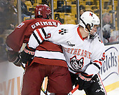 Ryan Grimshaw (Harvard - 6), Garrett Vermeersch (NU - 9) - The Northeastern University Huskies defeated the Harvard University Crimson 4-1 (EN) on Monday, February 8, 2010, at the TD Garden in Boston, Massachusetts, in the 2010 Beanpot consolation game.