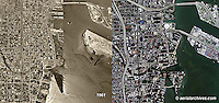 aerial photograph then and now Miami, Florida 1961 and 2007