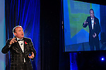 © Joel Goodman - 07973 332324 . 06/11/2014 .  Manchester , UK . DAVE FISHWICK of the Bank of Dave delivers a speech to the audience . The MEN Business Awards 2014 at the Midland Hotel . Photo credit : Joel Goodman
