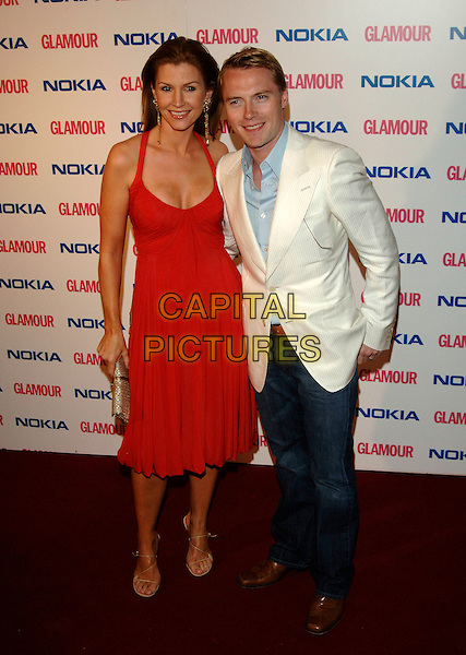 YVONNE KEATING & RONAN KEATING.The Glamour magazine 3rd Annual Women Of The Year Awards - Arrivals, Berkley Sqaure, London, England..6th June 2006..full length red dress married husband wife white jacket.Ref: PL.www.capitalpictures.com.sales@capitalpictures.com.©Phil Loftus/Capital Pictures