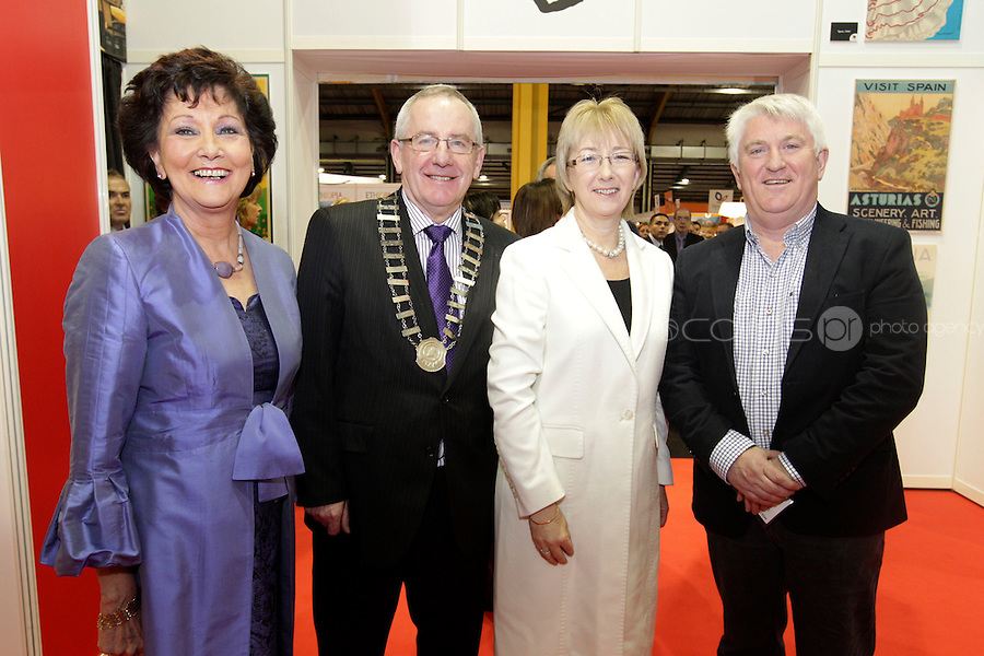 NO FEE PICTURES.28/1/11 Minister Mary Hanafin with Maureen Ledwith (left), Holiday World Show, Pat Dawson, President ITA and Declan O'Connell, MD Lee Travel , Ireland Travel Agent of the Year at the launch of the Holiday World Show at the RDS, Dublin, which runs from Friday 28th untill Sunday 30th January. Picture: Arthur Carron/Collins