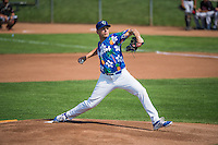 Ogden Raptors starting pitcher Adam Bray (38) delivers a pitch to the plate against the Billings Mustangs in Pioneer League action at Lindquist Field on August 16, 2015 in Ogden, Utah.Billings defeated Ogden 6-3.  (Stephen Smith/Four Seam Images)