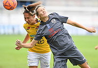 20190813 - DENDERLEEUW, BELGIUM : PAOK's Eirini Nefrou (r) pictured in a heading duel with LSK's Ingrid Moe Wold (left) during the female soccer game between the Greek PAOK Thessaloniki Ladies FC and the Norwegian LSK Kvinner Fotballklubb Ladies , the third and final game for both teams in the Uefa Womens Champions League Qualifying round in group 8 , Tuesday 13 th August 2019 at the Van Roy Stadium in Denderleeuw  , Belgium  .  PHOTO SPORTPIX.BE for NTB | DAVID CATRY