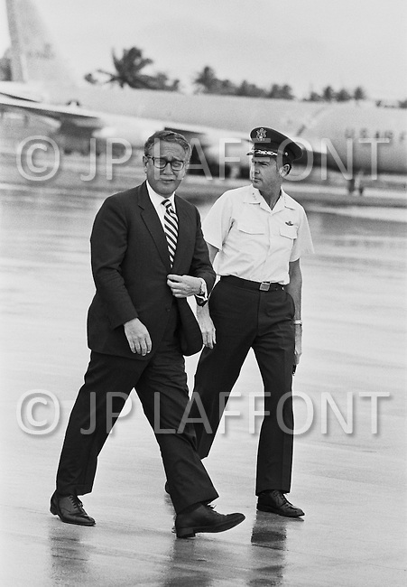 19 Jun 1972, Guam --- The Andersen Air Force Base on Guam Island from where the B52 bombers take off for Vietnam. Henry Kissinger, Nixon's advisor, with General Johnson, Andersen Base Chief Commander, visiting Guam on his way to China. --- Image by © JP Laffont