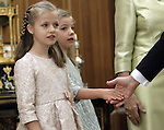 Prince Felipe VI of Spain greeting their daughters Princess Leonor of Spain and Enfant Sofia of Spain at the official ceremony to become chief commander of the spanish military forces. . June 19 ,2014. (ALTERPHOTOS/EFE/Pool)