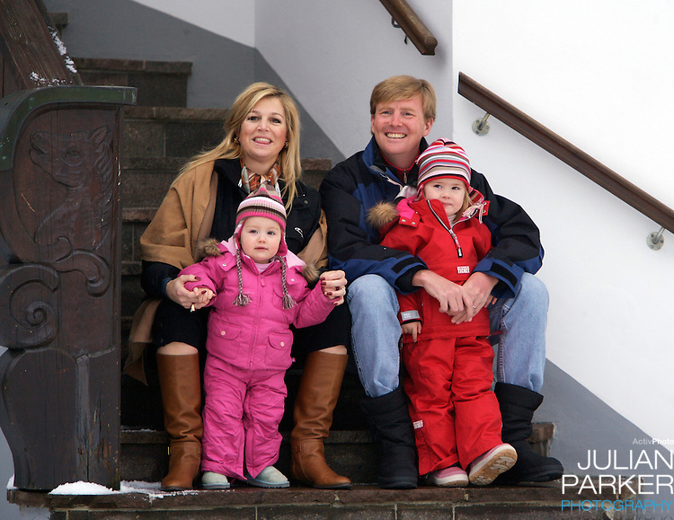 Crown Prince Willem-Alexander & Crown Princess Maxima of Holland, with daughters Princess Catharina-Amalia & Princess Alexia, pose for photographs at the start of their annual skiing holiday in Lech, Austria.