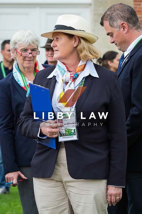 GROUND JURY: Gillian Rolton: FIRST HORSE INSPECTION: EVENTING: The Alltech FEI World Equestrian Games 2014 In Normandy - France (Wednesday 27 August) CREDIT: Libby Law COPYRIGHT: LIBBY LAW PHOTOGRAPHY - NZL