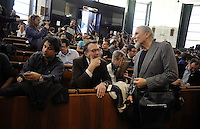 "Roma, 25 Marzo 2011.Università La Sapienza .Il movimento ""uniti contro la crisi"" in assemblea per lo sciopero generale del 6 Maggio..Partecipano centri sociali, movimenti per i beni comuni, Fiom, studenti, movimenti per la pace..Nella foto Giorgio Cremaschi e Moni Ovadia.Rome, 25 March 2011.University La Sapienza.The movement united against the crisis ""in asseblea for the general strike on May 6..Participants: social centers, movements for the common good, Fiom, students, peace movements."