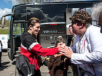 The fans welcome Josh Windass of Accrington Stanley prior to the Sky Bet League 2 match between Wycombe Wanderers and Accrington Stanley at Adams Park, High Wycombe, England on the 30th April 2016. Photo by Liam McAvoy / PRiME Media Images.