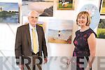 The Lake House ballroom, Tuosist, was packed for the art exhibition held by local artist  Kitty O'Connor (nee Moriarty). The exhibition was officially opened by  Seán O Sé, pictured here with Kitty and some of her  paintings.