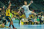 Torschuss von Gregor Remke (DHfK Leipzig Nr.25), Mads Mensah Larsen (Rhein Neckar Löwen Nr.22) in der bwehr - beim Bundesliga-Spiel der Rhein Neckar Löwen gegen SC DHfK Leipzig am 03.03.2020 in der SAP Arena in Mannheim beim Spiel in der Handball Bundesliga, Rhein Neckar Loewen - SC DHfK Leipzig.<br /> <br /> Foto © PIX-Sportfotos *** Foto ist honorarpflichtig! *** Auf Anfrage in hoeherer Qualitaet/Aufloesung. Belegexemplar erbeten. Veroeffentlichung ausschliesslich fuer journalistisch-publizistische Zwecke. For editorial use only.