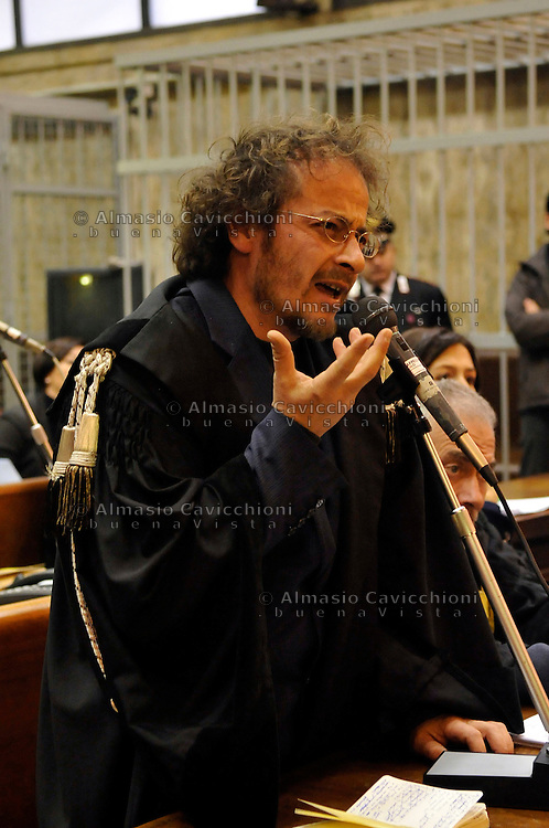 JAN 23  2009 MILAN, TRIAL TO THE NEW RED BRIGADES,  THE LAWYER SANDRO CLEMENTI.23 GEN 2009 MILANO, PROCESSO ALLE NUOVE BR, SANDRO CLEMENTI avvocato difensore..