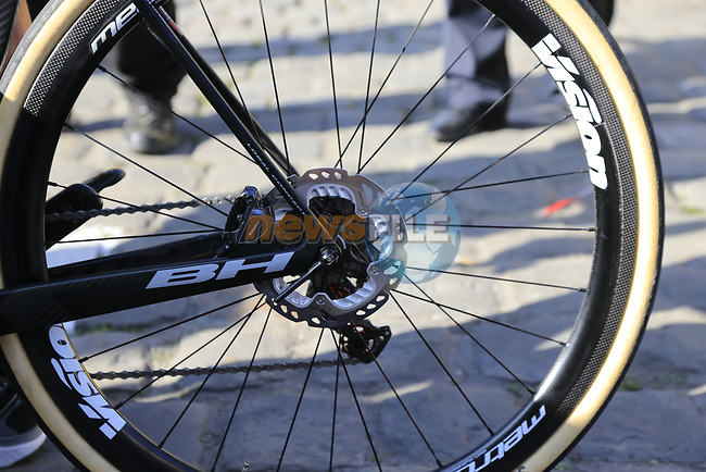 Adrien Petit (FRA) Direct Energie running disk brakes on his BH bike at sign on for the 115th edition of the Paris-Roubaix 2017 race running 257km Compiegne to Roubaix, France. 9th April 2017.<br /> Picture: Eoin Clarke | Cyclefile<br /> <br /> <br /> All photos usage must carry mandatory copyright credit (&copy; Cyclefile | Eoin Clarke)