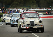 10th September 2017, Goodwood Estate, Chichester, England; Goodwood Revival Race Meeting; Racing starts as cars speed out of the chicane
