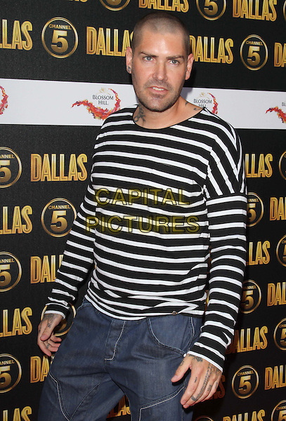 Shane Lynch.The Channel 5 Launch Party for the new series of 'Dallas', Old Billingsgate Market, London, England..21st August 2012.half  length black white stripe top tattoos  jean denim shorts   .CAP/ROS.©Steve Ross/Capital Pictures.