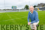 Der Brosnan inspects the pitch with the new scoreboard in the back ground in Fitzgerald Stadium ahead of the Mayo game on Sunday