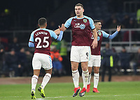 Burnley's Sam Vokes celebrates scoring his side's first goal <br /> <br /> Photographer Rachel Holborn/CameraSport<br /> <br /> The Premier League - Burnley v Newcastle United - Monday 26th November 2018 - Turf Moor - Burnley<br /> <br /> World Copyright &copy; 2018 CameraSport. All rights reserved. 43 Linden Ave. Countesthorpe. Leicester. England. LE8 5PG - Tel: +44 (0) 116 277 4147 - admin@camerasport.com - www.camerasport.com