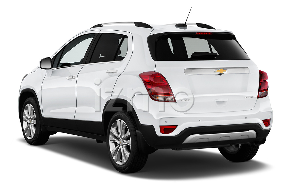Car pictures of rear three quarter view of a 2019 Chevrolet Trax Premier 5 Door SUV angular rear