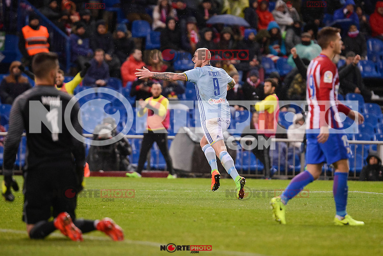 Celta de Vigo's Pablo Hernandez celebrating a goal during La Liga match between Atletico de Madrid and Celta de Vigol at Vicente Calderon Stadium in Madrid, Spain. December 03, 2016. (ALTERPHOTOS/BorjaB.Hojas)