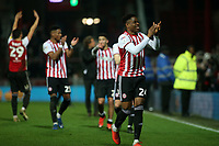 Brentford players celebrate their 1-0 victory at the final whistle during Brentford vs Aston Villa, Sky Bet EFL Championship Football at Griffin Park on 13th February 2019
