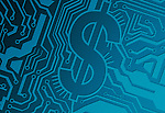 Blue computer circuit board with dollar symbol representing IT industry