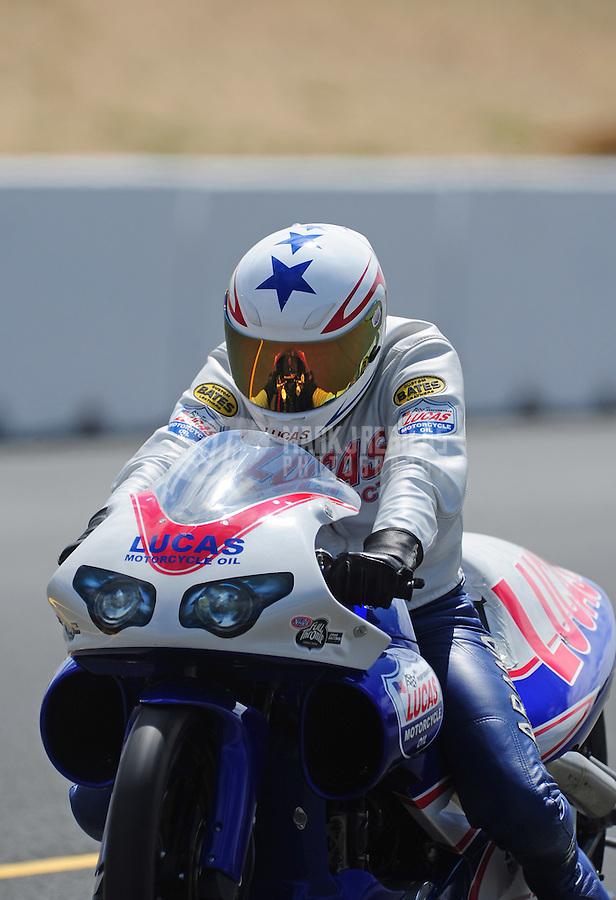 Jul. 30, 2011; Sonoma, CA, USA; NHRA pro stock motorcycle rider Hector Arana Jr during qualifying for the Fram Autolite Nationals at Infineon Raceway. Mandatory Credit: Mark J. Rebilas-