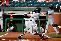 Jake Cronenworth (3) of the Montgomery Biscuits hits the ball in a game against the Chattanooga Lookouts on May 25, 2018 at AT&T Field in Chattanooga, Tennessee. (Andy Mitchell/Four Seam Images)