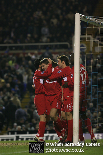 Birmingham City 0 Liverpool 7, 21/03/2006. St Andrews, FA Cup 6th Round. Birmingham City (blue) versus Liverpool,  The home side lost 0-7. Picture shows Liverpool players celebrate Fernando Morietes' (second right) goal. Photo by Colin McPherson.