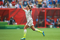 VANCOUVER, CANADÁ, 05.07.2015 - EUA-JAPÃO - Carli Llyod  dos Estados Unidos comemora seu gol durante partida contra o Japão jogo válido pela final da Copa do Mundo de Futebol Feminino no Estádio BC Place em Vancouver  no Canadá neste domingo, 05. (Foto: William Volcov/Brazil Photo Press)