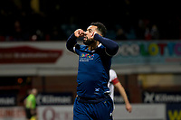 10th March 2020; Dens Park, Dundee, Scotland; Scottish Championship Football, Dundee FC versus Ayr United; Kane Hemmings of Dundee celebrates after scoring for 1-0 in the 14th minute