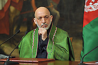 Hamid Karzai, President of the Islamic Republic of Afghanistan, during an official visit in Rome, Italy, on January 26, 2012.