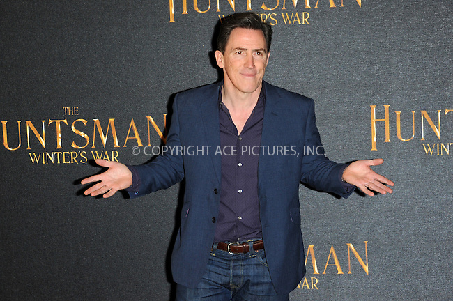 WWW.ACEPIXS.COM<br /> <br /> March 31 2016, London<br /> <br /> Rob Brydon at a photocall to promote the film 'The Huntsman: Winter's War' in London, on March 31, 2016 <br /> <br /> By Line: Famous/ACE Pictures<br /> <br /> <br /> ACE Pictures, Inc.<br /> tel: 646 769 0430<br /> Email: info@acepixs.com<br /> www.acepixs.com