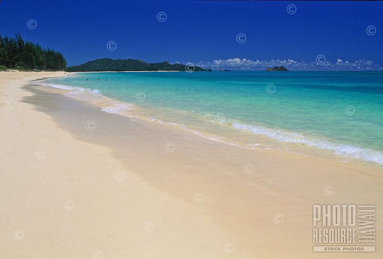 The smooth white sands of Waimanalo Beach, windward Oahu