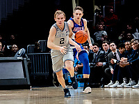 WASHINGTON, DC - DECEMBER 28: Mac McClung #2 of Georgetown breaks up court. during a game between American University and Georgetown University at Capital One Arena on December 28, 2019 in Washington, DC.