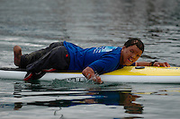 Saturday, 01/24/09.  Campland on the Bay, Mission Bay, San Diego, CA, USA.  Jaques Kaplan-Abrahams paddles a surf board across Mission Bay during an event sponsorded by the Challenged Athletes Foundation.  The participants had the opportunity to had the opportunity to try several different paddle sports. The Challenged Athletes Foundation established the Operation Rebound fund to provide sports opportunities and support for troops, veterans and first responders who have suffered permanent physical injuries in the line of duty.