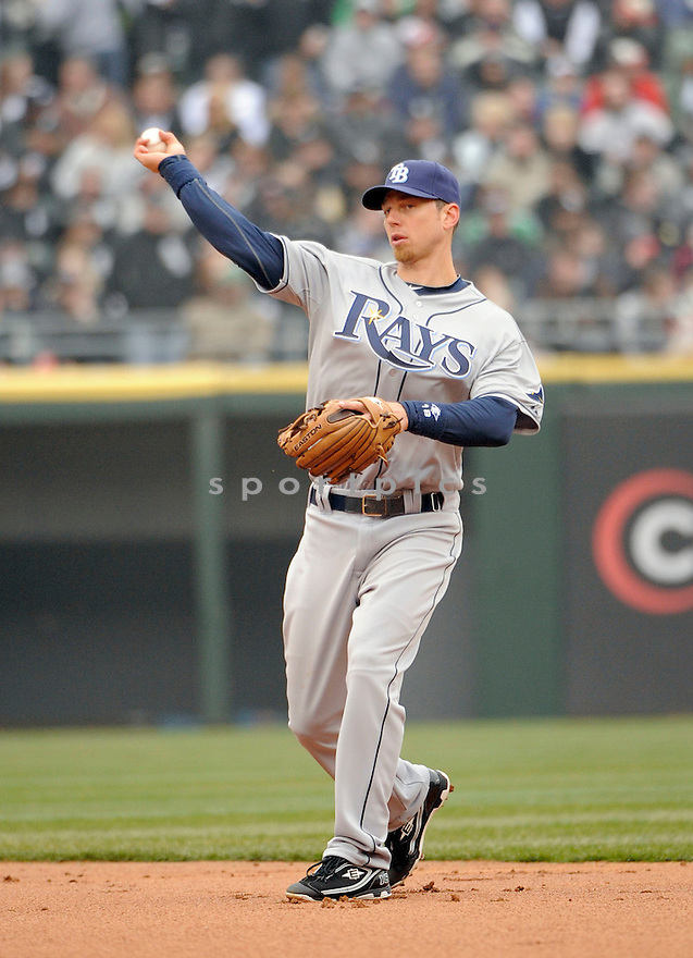 BEN ZOBRIST, of the Tampa Bay Rays , in actions during the Rays game against the Chicago White Sox at US Cellular Field on April 7, 2011.  The Chicago White Sox won the game beating the Tampa Bay Rays 5-1.