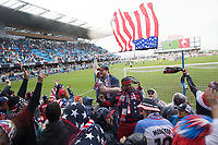 SAN JOSE, CA - Feb 2, 2019:  USA and American Outlaws fans cheer during the USA Men's National Team game against Costa Rica.