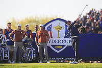 Webb Simpson (Team Europe) on the 13th tee during Saturday Foursomes at the Ryder Cup, Le Golf National, Ile-de-France, France. 29/09/2018.<br /> Picture Thos Caffrey / Golffile.ie<br /> <br /> All photo usage must carry mandatory copyright credit (&copy; Golffile | Thos Caffrey)