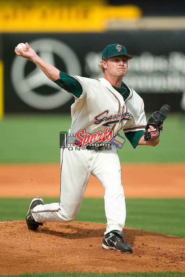 Greensboro starting pitcher Michael Hyle (46) in action versus Kannapolis at First Horizon Park in Greensboro, NC, Sunday, May 27, 2007.  The Intimidators defeated the Grasshoppers 6-5.