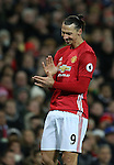 A frustrated Zlatan Ibrahimovic of Manchester United during the Premier League match at the Old Trafford Stadium, Manchester. Picture date: November 27th, 2016. Pic Simon Bellis/Sportimage