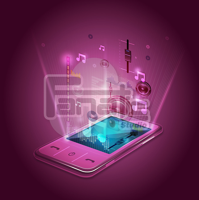 Illustrative image of mobile phone's entertainment application