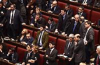 Roma, 16 Marzo 2013.Montecitorio, Camera dei Deputati.Secondo giorno in Aula della XVII Legislatura del Parlamento italiano.Elezione del Presidente.Pier Luigi Bersani e  Nichi Vendola durante il discorso della neo eletta Laura Boldrini