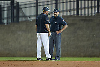 Wake Forest Demon Deacons head coach Tom Walter (16) argues a call with first base umpire Randy Sutton during the game against the Florida Gators in Game Three of the Gainesville Super Regional of the 2017 College World Series at Alfred McKethan Stadium at Perry Field on June 12, 2017 in Gainesville, Florida. The Gators defeated the Demon Deacons 3-0 to advance to the College World Series in Omaha, Nebraska. (Brian Westerholt/Four Seam Images)