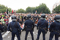Anti-austerity violence:  riot police clashing with protesters in Madrid Thousands of protesters clashed violently with riot police in Madrid on Tuesday over the announcement of severe austerity measures.<br /> Madrid,Spain 2012.